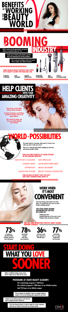 infographic on the benefits of working in the beauty industry