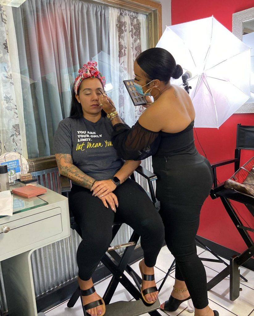 Makeup demonstration at Crave Beauty Academy